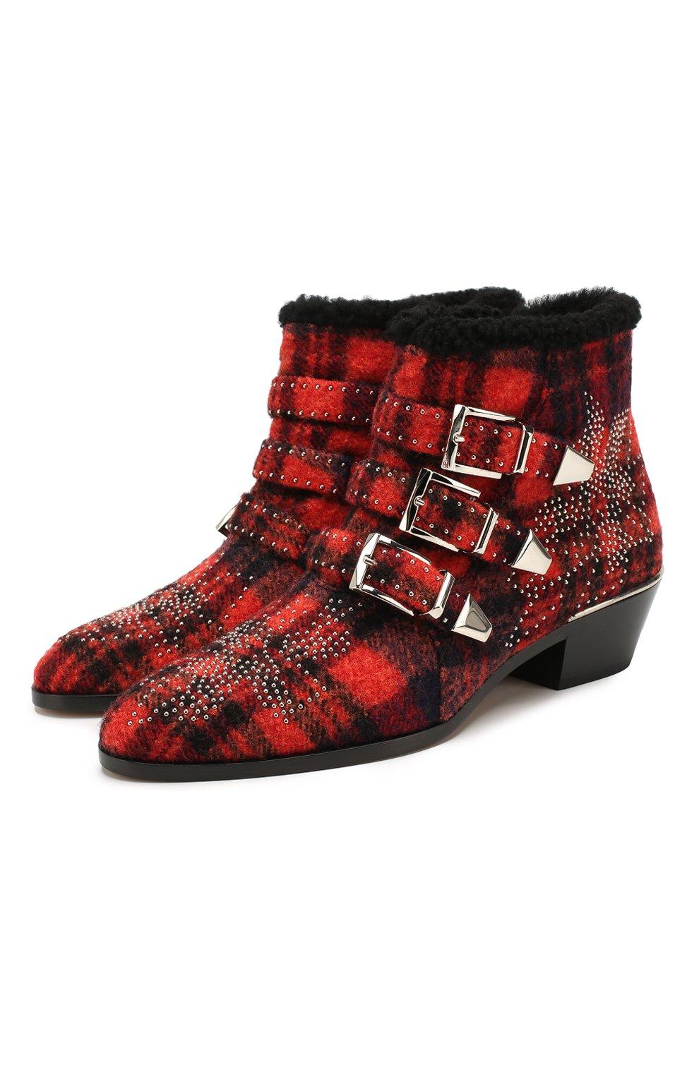 Женские ботинки susanna CHLOÉ красного цвета, арт. CHC19W134H1 | Фото 1