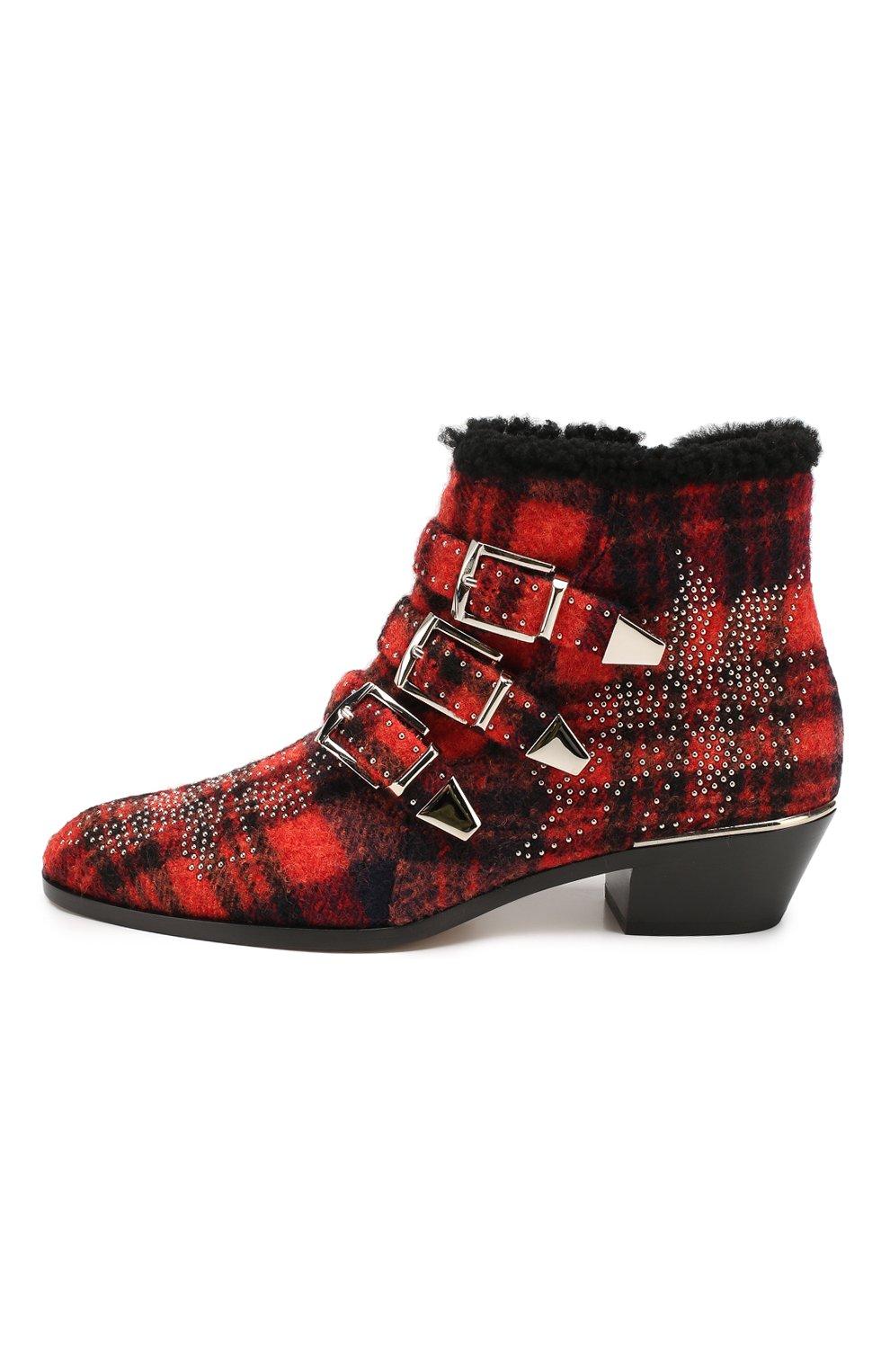 Женские ботинки susanna CHLOÉ красного цвета, арт. CHC19W134H1 | Фото 3