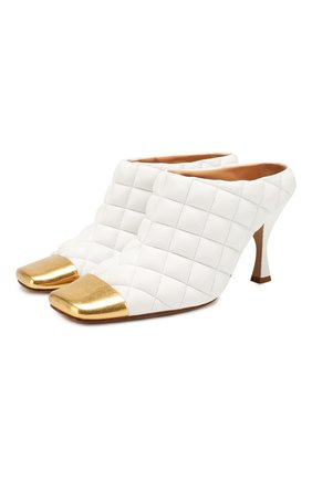 Женские кожаные мюли BOTTEGA VENETA белого цвета, арт. 592041/VBRR0 | Фото 1