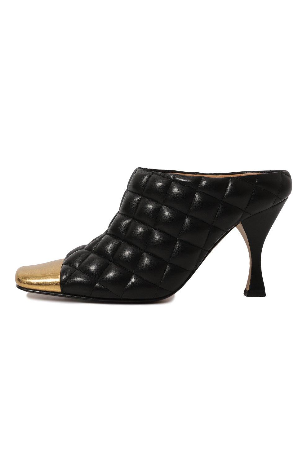 Женские кожаные мюли BOTTEGA VENETA черного цвета, арт. 592041/VBRR0   Фото 4