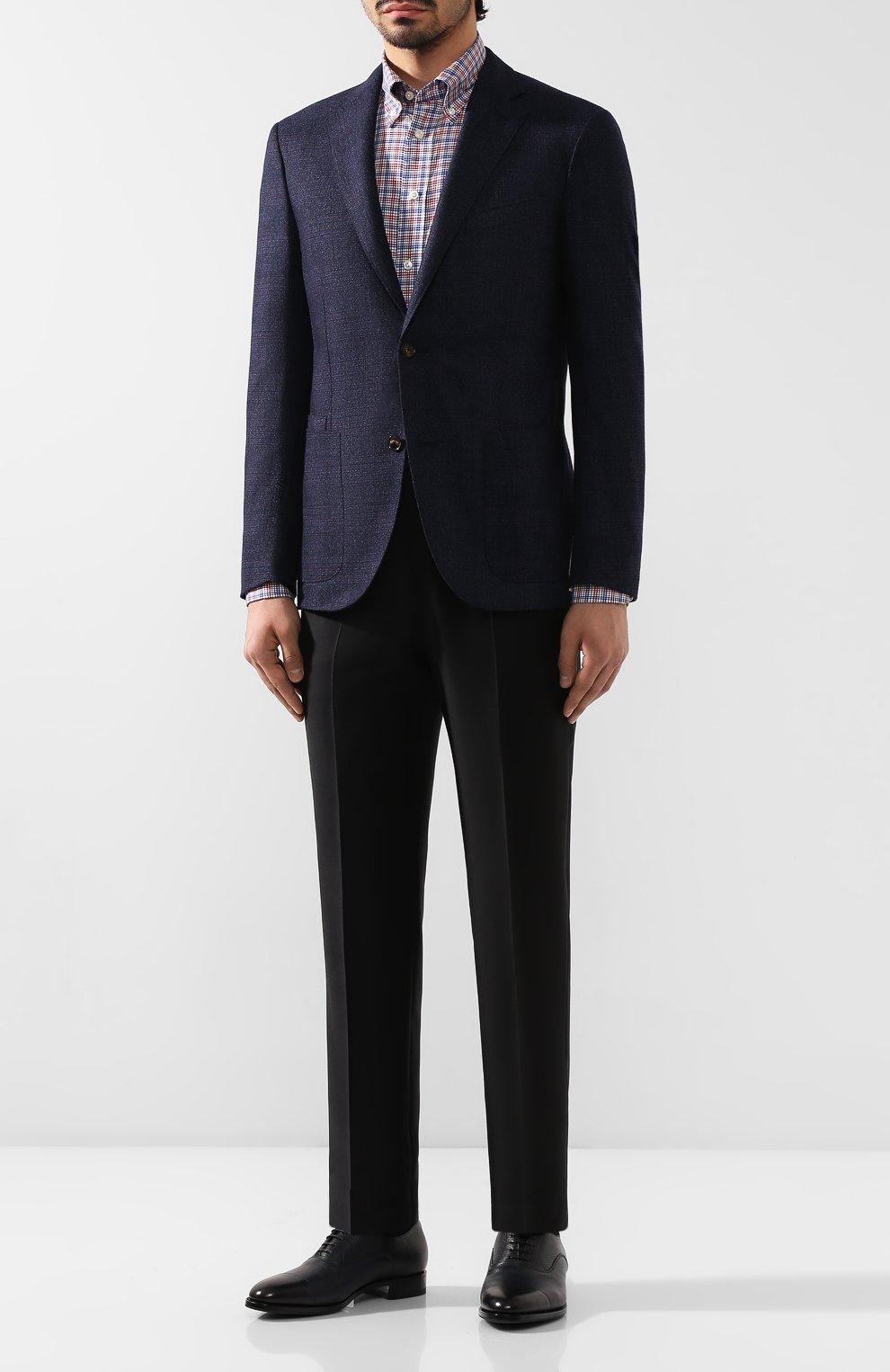 Мужские кожаные оксфорды SANTONI темно-синего цвета, арт. MCKE15726UJ1ADI0U49 | Фото 2