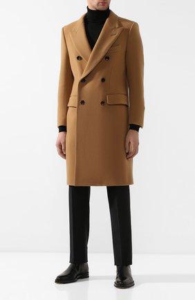 Мужской шерстяное пальто TOM FORD бежевого цвета, арт. 697R13/412F40 | Фото 2