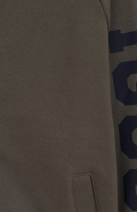 Детский хлопковая толстовка с капюшоном IL GUFO хаки цвета, арт. A19GA319M0022/10A-12A | Фото 3