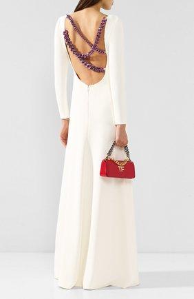 Женское платье из вискозы TOM FORD белого цвета, арт. AB2740-FAX459 | Фото 2 (Материал подклада: Шелк; Рукава: Длинные; Случай: Свадебный, Вечерний; Длина Ж (юбки, платья, шорты): Макси; Материал внешний: Вискоза)
