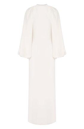 Женское шелковое платье ADAM LIPPES белого цвета, арт. F19724SE | Фото 1 (Рукава: Длинные; Материал внешний: Шелк; Материал подклада: Шелк; Случай: Свадебный; Длина Ж (юбки, платья, шорты): Макси)