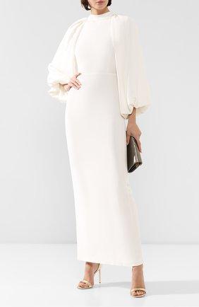 Женское шелковое платье ADAM LIPPES белого цвета, арт. F19724SE | Фото 2 (Рукава: Длинные; Материал внешний: Шелк; Материал подклада: Шелк; Случай: Свадебный; Длина Ж (юбки, платья, шорты): Макси)