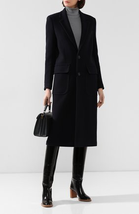 Женское шерстяное пальто AMI темно-синего цвета, арт. H19FM002.224 | Фото 2
