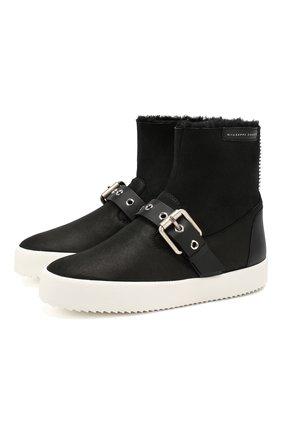 Женские кожаные ботинки GIUSEPPE ZANOTTI DESIGN черного цвета, арт. RW90059/001 | Фото 1