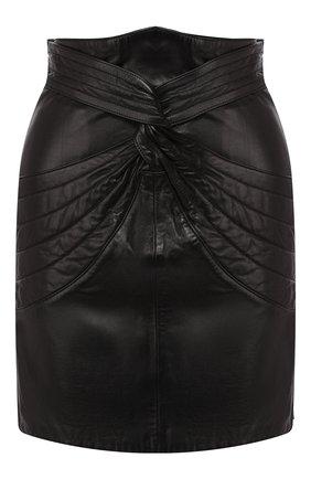 Женская кожаная юбка ISABEL MARANT черного цвета, арт. JU1022-19A003I/CHAZ | Фото 1