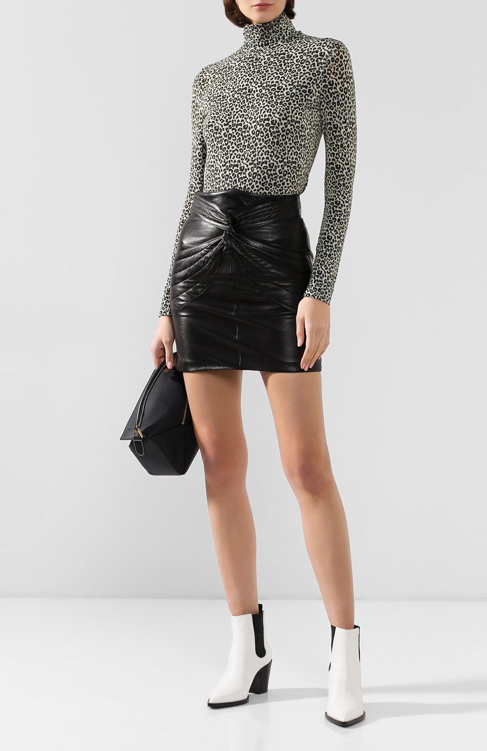 Женская кожаная юбка ISABEL MARANT черного цвета, арт. JU1022-19A003I/CHAZ | Фото 2