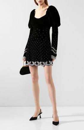 Женское бархатное платье WANDERING черного цвета, арт. WGW19404 | Фото 2