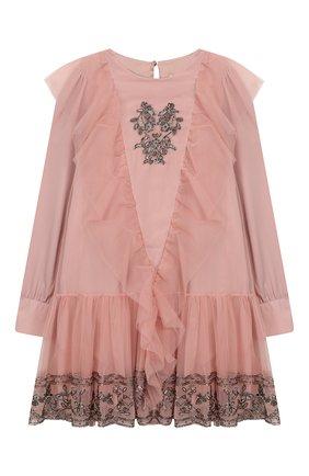 Детское платье ALBERTA FERRETTI JUNIOR розового цвета, арт. 021358 | Фото 1