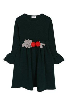 Детское шерстяное платье IL GUFO темно-зеленого цвета, арт. A19VT074EM220/2A-4A | Фото 1