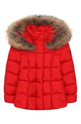 Детского пуховая куртка с капюшоном IL GUFO красного цвета, арт. A19GM308N0031/10A-12A | Фото 1