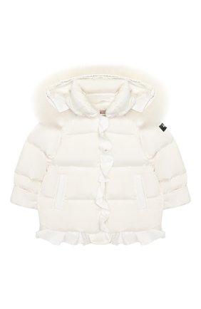 Детского пуховая куртка IL GUFO бежевого цвета, арт. A19GM299N0031/12M-18M | Фото 1