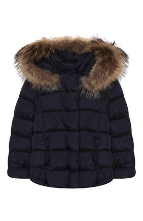 Детского пуховая куртка с капюшоном IL GUFO темно-синего цвета, арт. A19GM237N0031/10A-12A | Фото 1