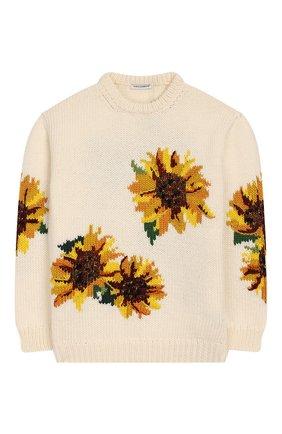 Детский шерстяной пуловер DOLCE & GABBANA белого цвета, арт. L5KW61/JAVQT/2-6 | Фото 1