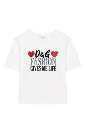Детская хлопковая футболка DOLCE & GABBANA белого цвета, арт. L5JTAZ/G7TBP/8-14 | Фото 1
