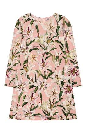 Детское платье из вискозы DOLCE & GABBANA светло-розового цвета, арт. L51DR2/LR121/2-6 | Фото 1