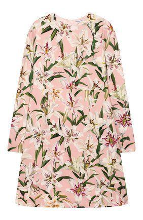 Детское платье из вискозы DOLCE & GABBANA светло-розового цвета, арт. L51DR2/LR121/8-14 | Фото 1