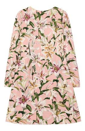 Детское платье из вискозы DOLCE & GABBANA светло-розового цвета, арт. L51DR2/LR121/8-14 | Фото 2