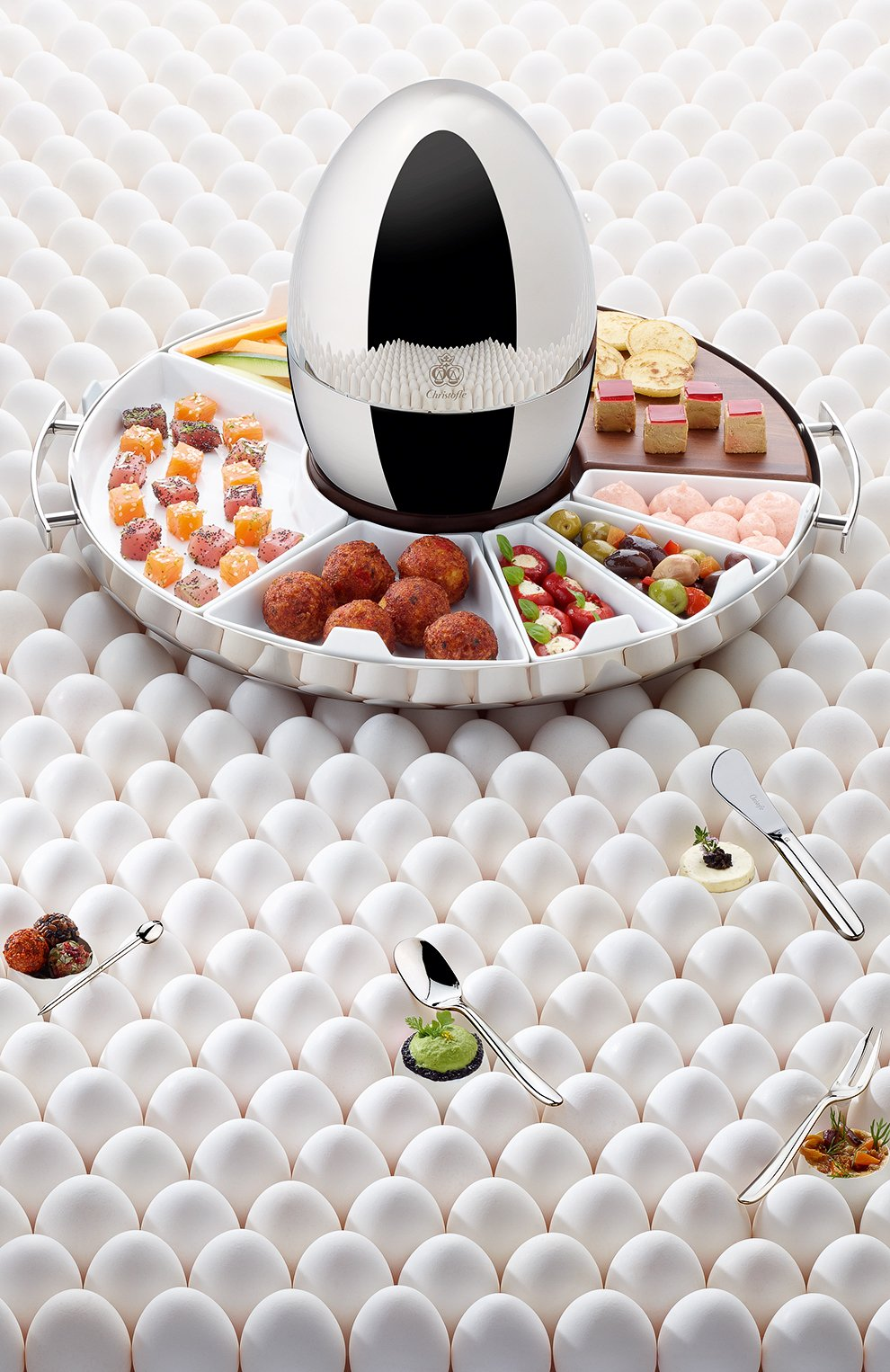 Мужского набор приборов для закусок mood party на 6 персон CHRISTOFLE серебряного цвета, арт. 00065599 | Фото 2