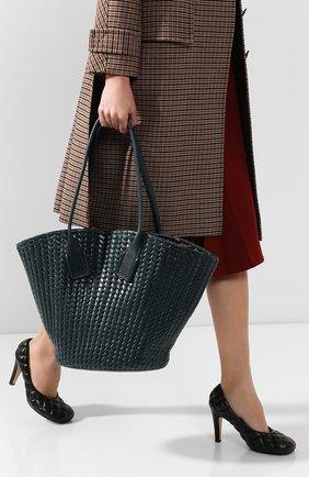 Женская сумка-тоут basket BOTTEGA VENETA зеленого цвета, арт. 578342/VMBA1 | Фото 2