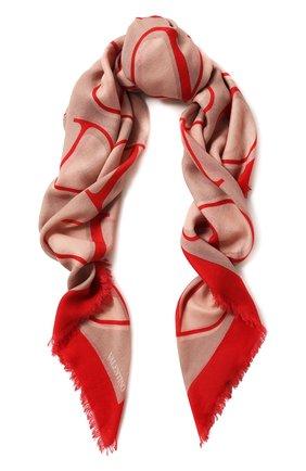 Женский платок из смеси кашемира и шелка VALENTINO бежевого цвета, арт. SW0EB104/FZS | Фото 1