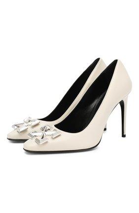 Женская кожаные туфли OFF-WHITE белого цвета, арт. 0WIA088F19B420500500 | Фото 1