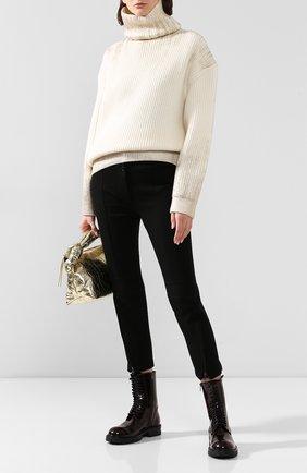 Женские брюки из смеси шерсти и хлопка ANN DEMEULEMEESTER черного цвета, арт. 1902-1422-167-099   Фото 2