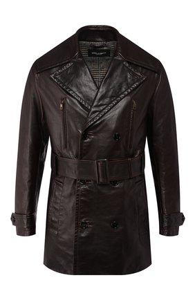 Мужской кожаный тренч DOLCE & GABBANA коричневого цвета, арт. G014BL/FUL3Y | Фото 1