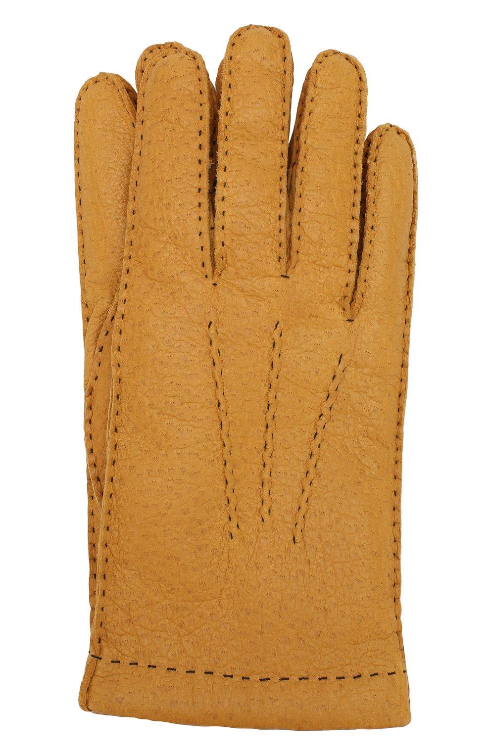 Мужские кожаные перчатки DENTS желтого цвета, арт. 15-1042   Фото 1