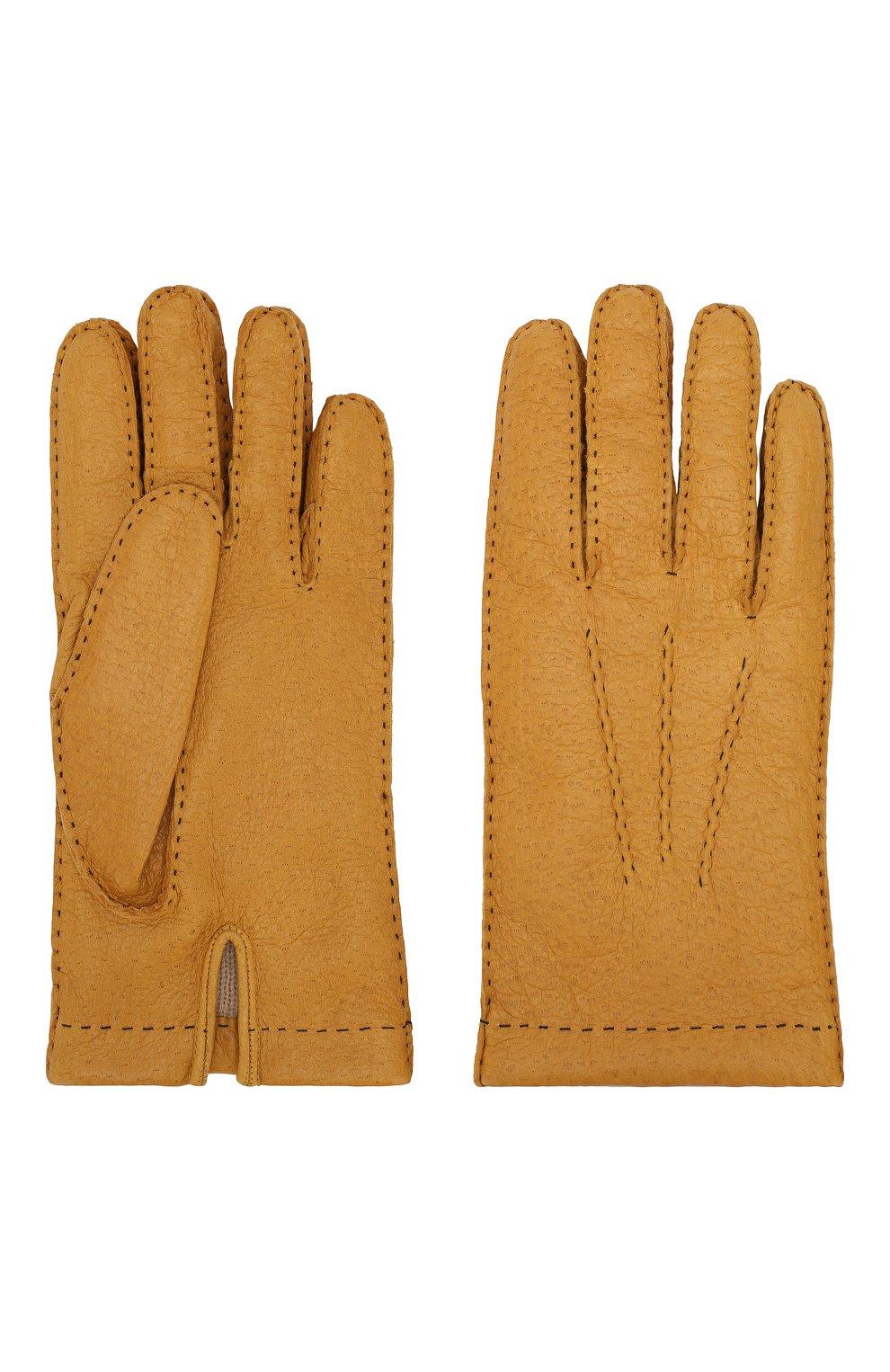 Мужские кожаные перчатки DENTS желтого цвета, арт. 15-1042   Фото 2