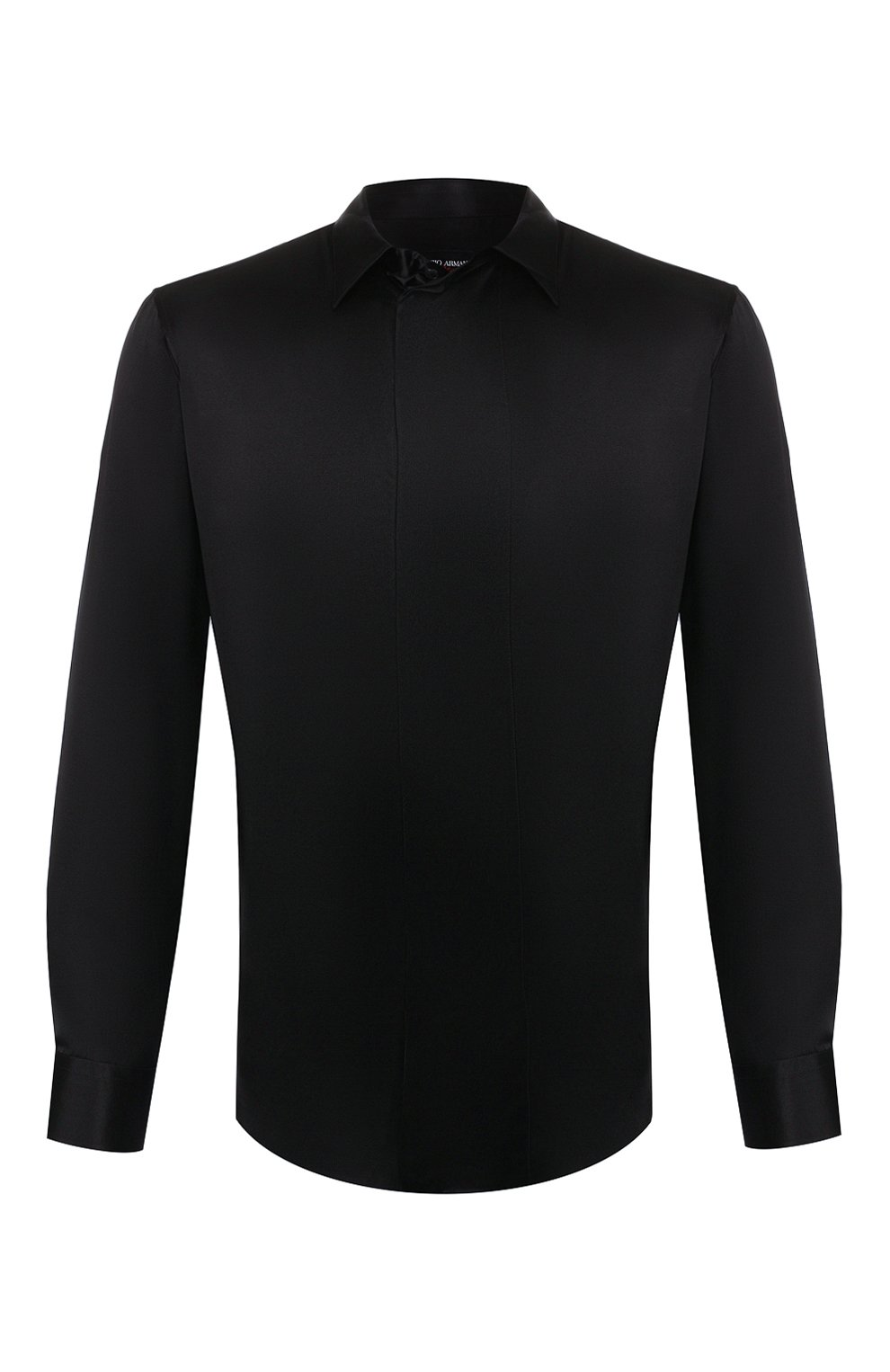 Мужская шелковая рубашка GIORGIO ARMANI черного цвета, арт. 9WGCCZSS/TZ429   Фото 1