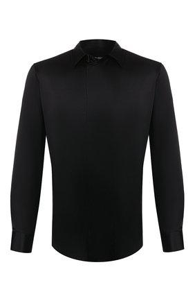 Мужская шелковая рубашка GIORGIO ARMANI черного цвета, арт. 9WGCCZSS/TZ429 | Фото 1