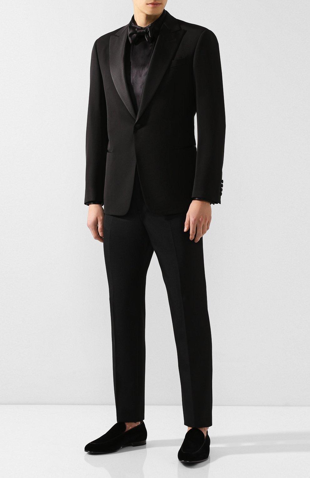 Мужская шелковая рубашка GIORGIO ARMANI черного цвета, арт. 9WGCCZSS/TZ429   Фото 2