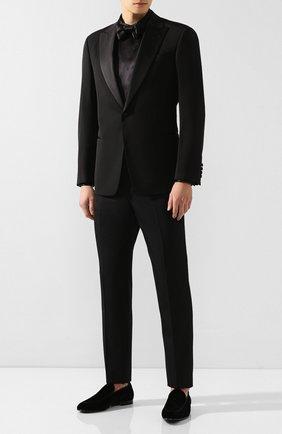 Мужская шелковая рубашка GIORGIO ARMANI черного цвета, арт. 9WGCCZSS/TZ429 | Фото 2