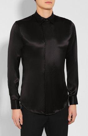 Мужская шелковая рубашка GIORGIO ARMANI черного цвета, арт. 9WGCCZSS/TZ429   Фото 3