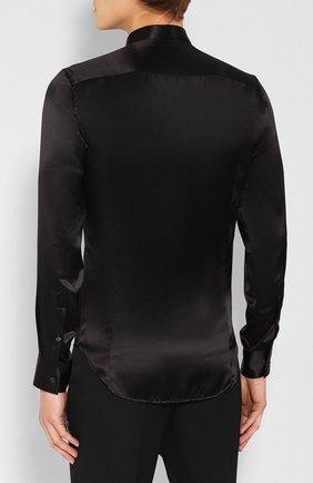 Мужская шелковая рубашка GIORGIO ARMANI черного цвета, арт. 9WGCCZSS/TZ429   Фото 4
