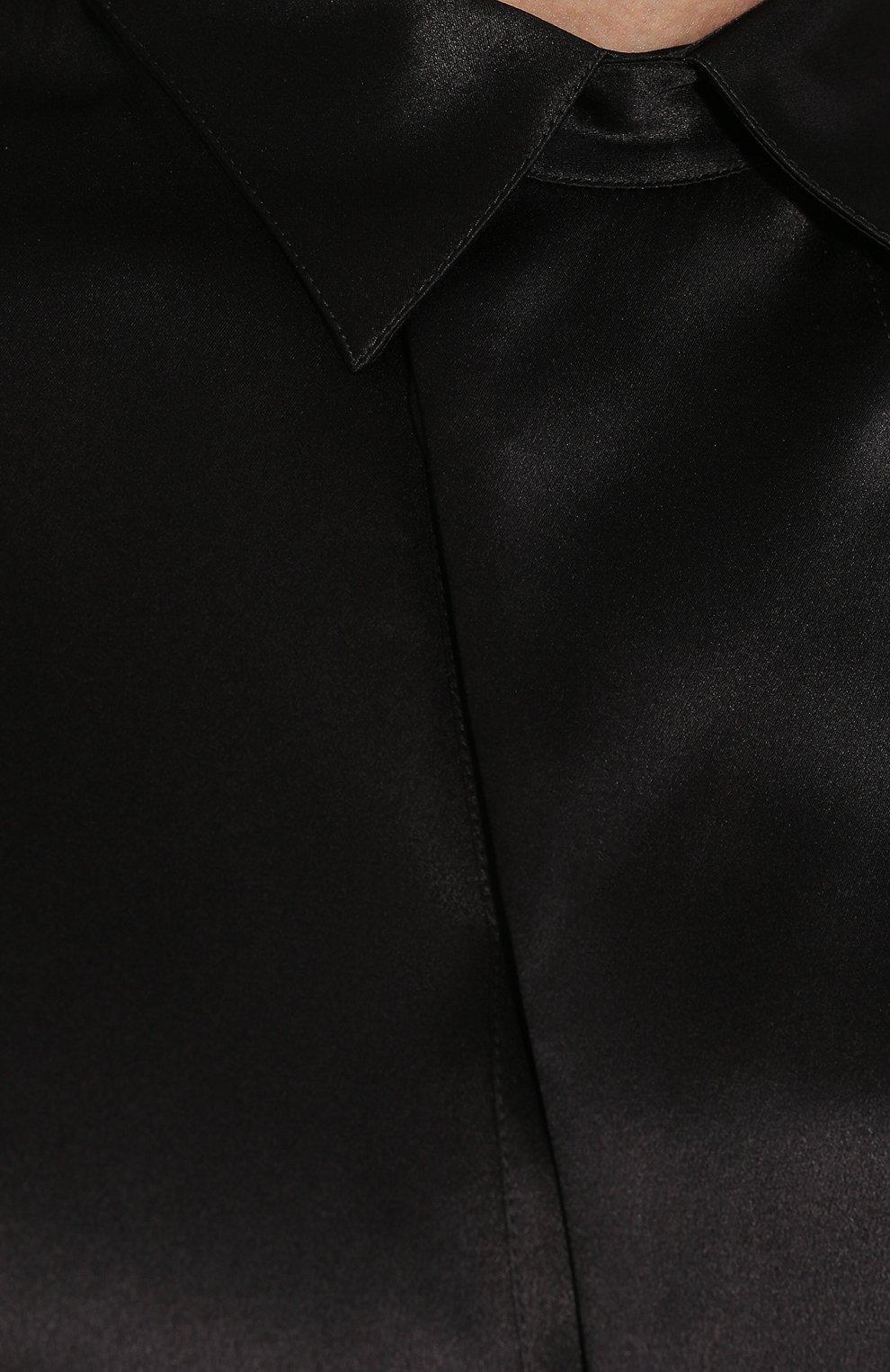 Мужская шелковая рубашка GIORGIO ARMANI черного цвета, арт. 9WGCCZSS/TZ429   Фото 5