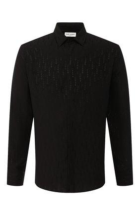 Мужская шелковая рубашка SAINT LAURENT черного цвета, арт. 564172/Y097V | Фото 1