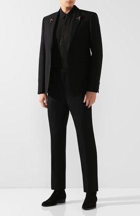Мужская шелковая рубашка SAINT LAURENT черного цвета, арт. 564172/Y097V | Фото 2