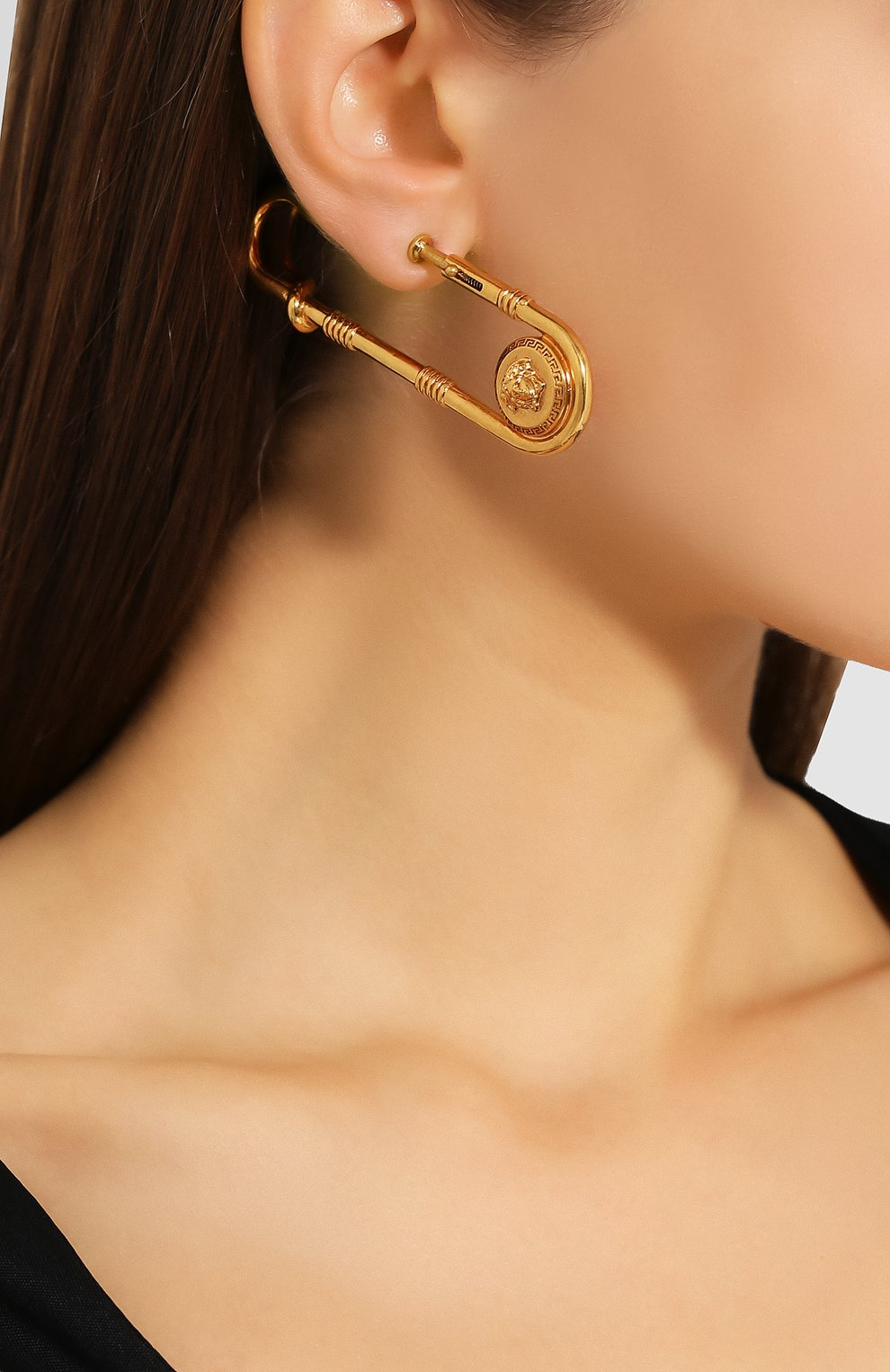 Женские серьги medusa safety pin VERSACE золотого цвета, арт. DG2H080/DJMT | Фото 2