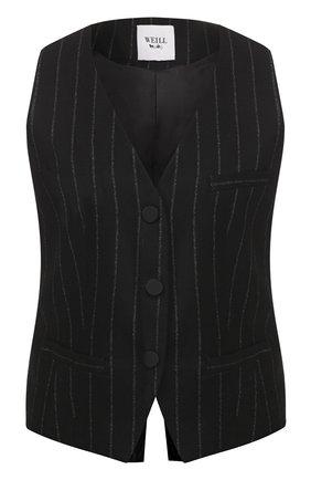 Женский жилет WEILL черного цвета, арт. 111202 | Фото 1 (Материал подклада: Синтетический материал; Статус проверки: Проверена категория; Длина (верхняя одежда): Короткие; Материал внешний: Синтетический материал; Женское Кросс-КТ: Жилет-одежда)