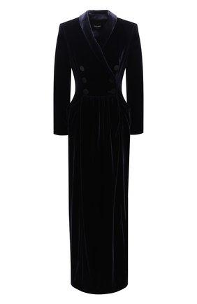 Женское платье из смеси вискозы и шелка GIORGIO ARMANI синего цвета, арт. 9WHVA03B/T0024 | Фото 1 (Материал подклада: Шелк; Рукава: Длинные; Материал внешний: Вискоза; Длина Ж (юбки, платья, шорты): Макси; Случай: Вечерний)