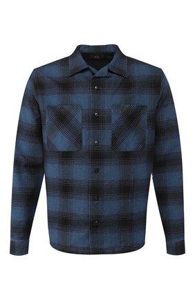 Мужская рубашка из смеси хлопка и шерсти RRL синего цвета, арт. 782754442 | Фото 1