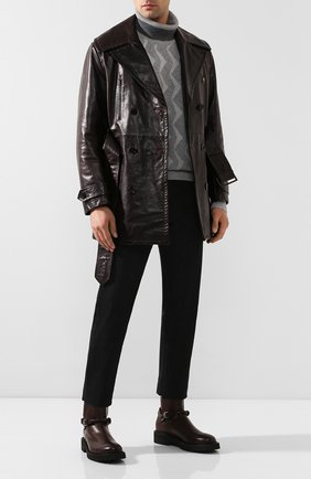 Мужские кожаные сапоги BOTTEGA VENETA темно-коричневого цвета, арт. 578286/VIFH0 | Фото 2