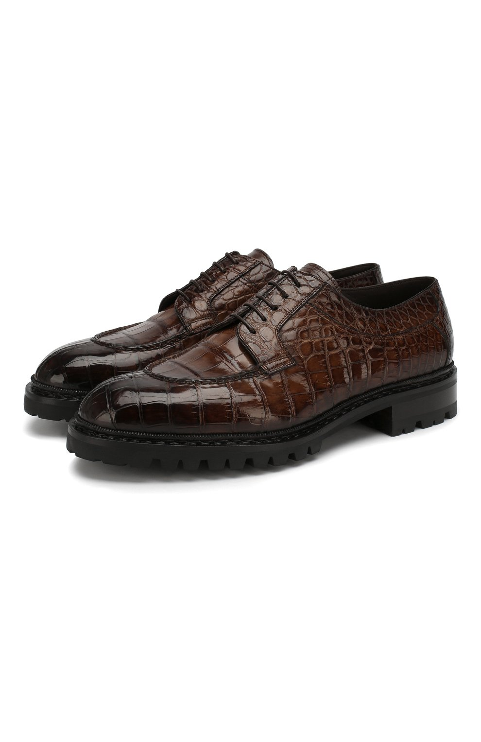 Мужские дерби из кожи аллигатора SANTONI PRECIOUS коричневого цвета, арт. MPC015262CL1HCWST45/AMIS | Фото 1