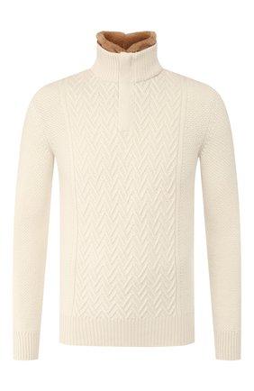 Кашемировый свитер с меховой отделкой | Фото №1