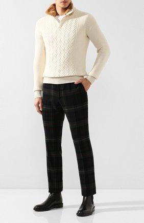 Мужской кашемировый свитер с меховой отделкой LORO PIANA кремвого цвета, арт. FAI8313 | Фото 2